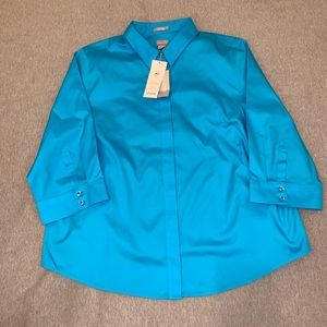 Chico's NWT turquoise no iron, stain shield shirt